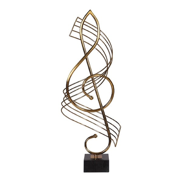 """27"""" Brass Metal Musical Sculpture on a Black Marble Base - N/A"""