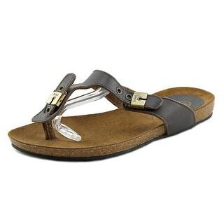 Scholl New Bimini Open Toe Leather Thong Sandal