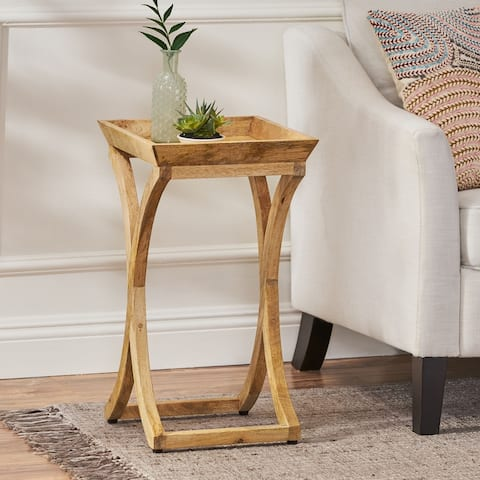 """Meagher Rustic Handcrafted Mango Wood Side Table by Christopher Knight Home - 14.00"""" L x 14.00"""" W x 24.50"""" H"""