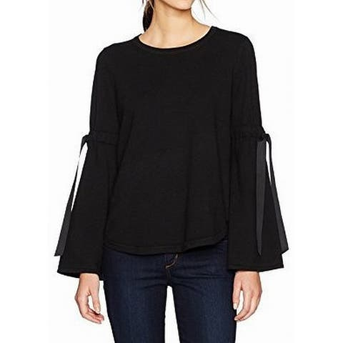 Max Studio Womens Sweater Top Deep Black Size Large L Bell-Tie-Sleeve