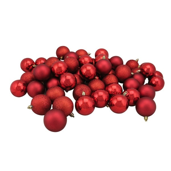 """60ct Red Hot Shatterproof 4-Finish Christmas Ball Ornaments 2.5"""" (60mm)"""