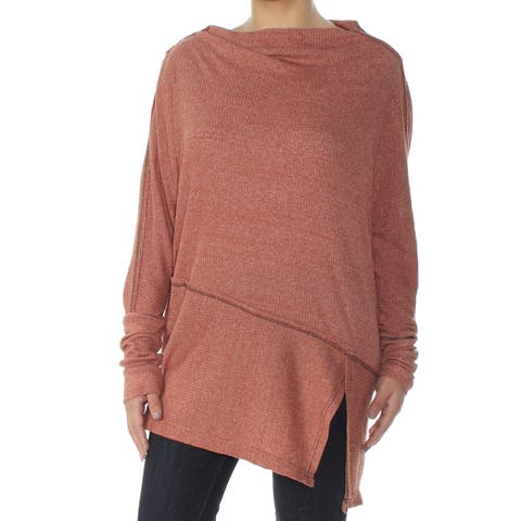 FREE PEOPLE Womens Orange Thermal Long Sleeve Boat Neck Top Size: L