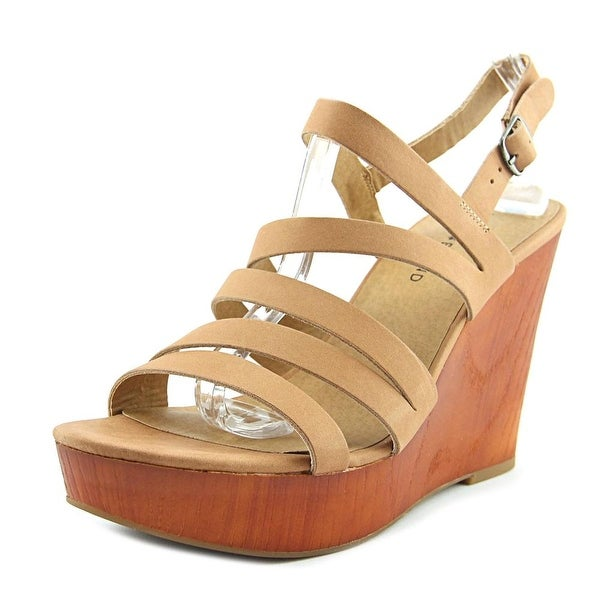Lucky Brand Larinaa Women Open Toe Leather Wedge Sandal