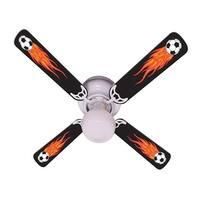 Cool Flaming Soccer Balls Print Blades 42in Ceiling Fan Light Kit - Multi
