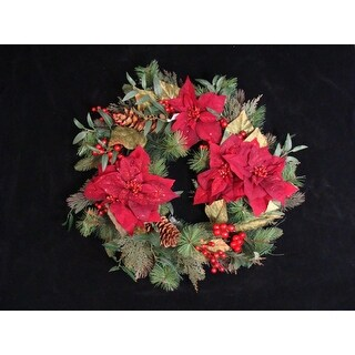 """26"""" Poinsettia Berry and Pine Cone Artificial Christmas Wreath - Unlit"""