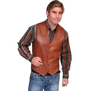 Scully Western Mens Lambskin Leather Button Antique Brown 503-189