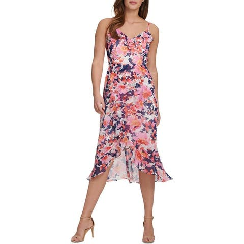 Kensie Womens Cocktail Dress Floral Ruffle - Multi