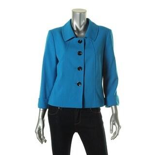 Tahari ASL Womens Hollianna Ponte Cuffed Sleeves Four-Button Blazer - 14