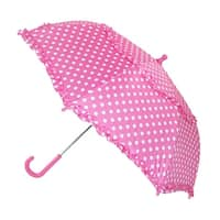 iRain Kids' Hook Handle Ruffled Polka Dot Umbrella