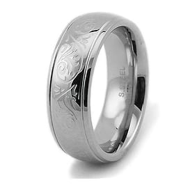 Engraved Floral Design Stainless Steel Women's Ring 7.5mm|https://ak1.ostkcdn.com/images/products/is/images/direct/2ebef3d11269a3a8c8049110a8474ff55f872716/Engraved-Floral-Design-Stainless-Steel-Women%27s-Ring-7.5mm.jpg?impolicy=medium