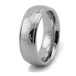 Engraved Floral Design Stainless Steel Women's Ring 7.5mm (More options available)