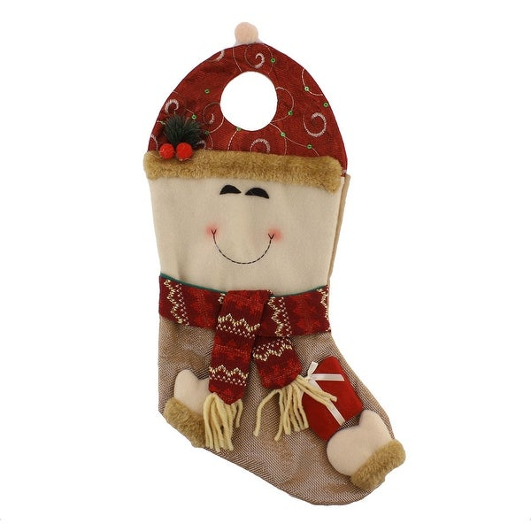 Christmas Day Cotton Blends Smile Facial Expression Stocking Gift Holder