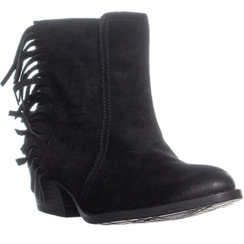 Kenneth Cole Reaction Raw-Dy High Ankle Fringe Boots, Black - 7 US / 37.5 EU