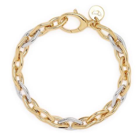 "Bronzoro 18 kt Gold Plated Women's 8"" Two Tone Rolo Bracelet"