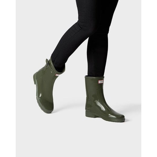 ad793aeef561 Shop Hunter Women s Olive Original Short Gloss Rain Boots - Free Shipping  Today - Overstock - 15617220