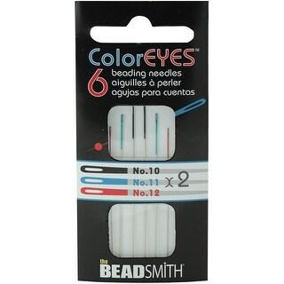 Coloreyes Beading Needles Assortment 6/Pkg-Black #10, Blue #11, Red #12