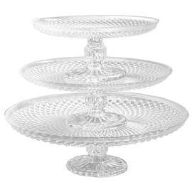 Palais Glassware Elegent 3 in 1 Cupcake or Cake Stand - Mix and Match Use As a One Tier, Two Tier or Three Tier or As 3 Separate