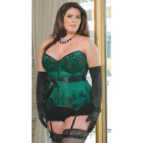 Plus Size Emerald Satin Corset - Green/Black