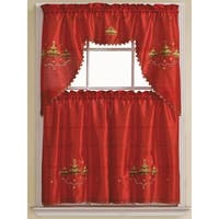 Pandora 3-Piece Embroidered Kitchen Curtain Set, Red-Gold, Tiers 30x36, Swag 60x36 Inches