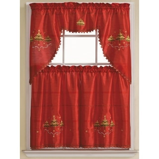 Marvelous Pandora 3 Piece Embroidered Kitchen Curtain Set, Red Gold, Tiers 30x36,