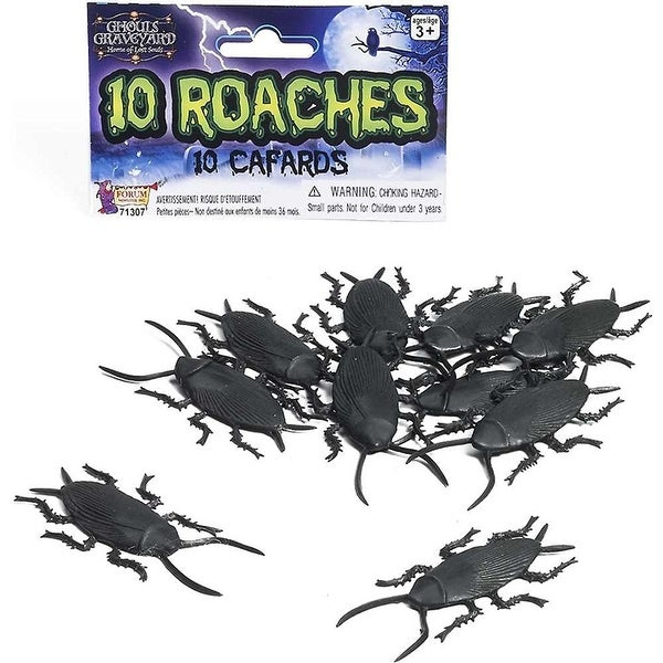 Ghouls Graveyard Plastic Cockroaches 10 Pc Set Halloween Decoration