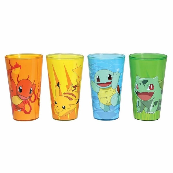 Pokemon Characters Pint Glasses - Charmander, Bulbasaur, Squirtle and Pikachu - Set of 5