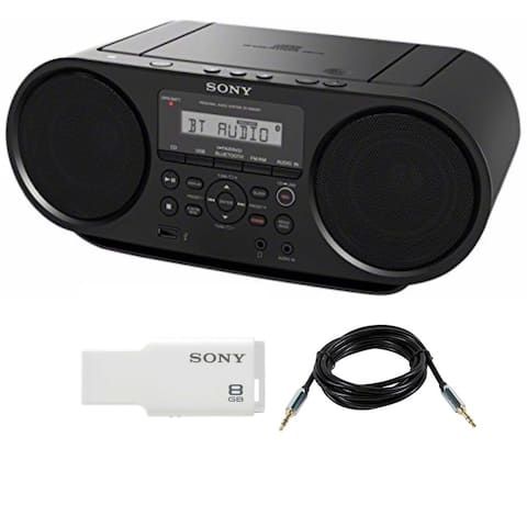 Sony ZSRS60BT CD Boombox (Black) w/ 8GB Micro Vault & Accessory Bundle