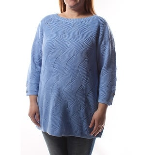 Womens Blue Geometric 3/4 Sleeve Jewel Neck Sweater Size OX