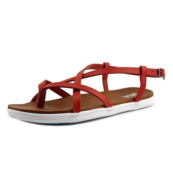 Mia Elana Women Open-Toe Synthetic Red Slingback Sandal