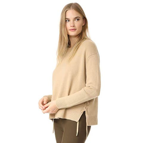 Vince Women's Lace Up Sweater, Camel, Small