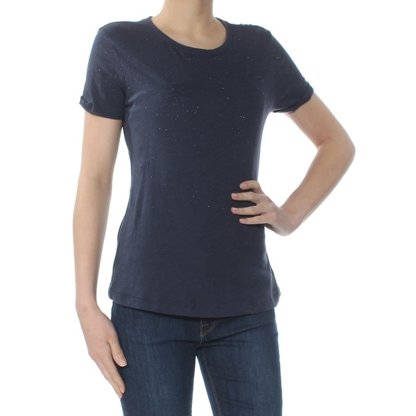 LUCKY BRAND Womens Navy Glitter Short Sleeve Crew Neck T-Shirt Top Size: XS