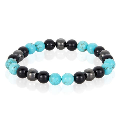 Natural Stone with Onyx and Magnetic Hematite Stretch Bracelet (8mm)