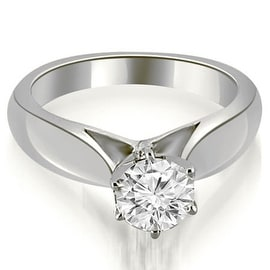 0.75 cttw. 14K White Gold Cathedral Solitaire Diamond Engagement Ring