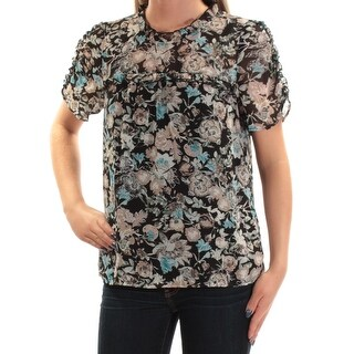 Womens Black Floral Short Sleeve Crew Neck Casual Top Size XS