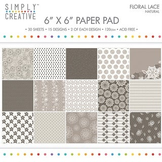 "Simply Creative Paper Pad Floral Lace 6""X6"" 30/Pkg-Natural, 15 Designs/2 Each"