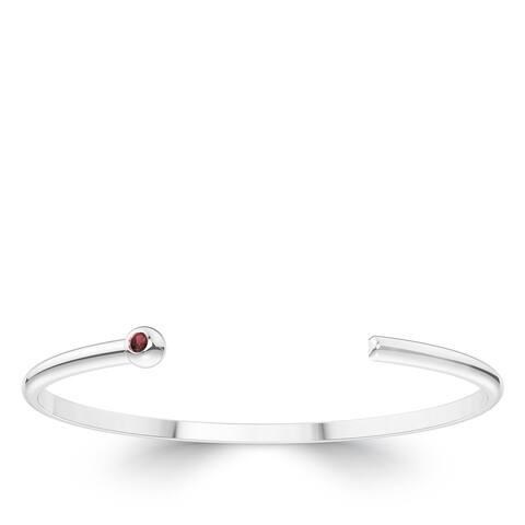 Garnet Cuff Bracelet In Sterling Silver