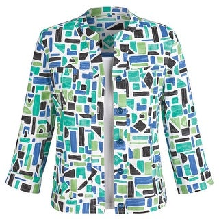 Women's Geometric Blues Jacket - Button Down Fashion Blazer