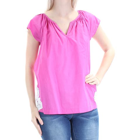 TOMMY HILFIGER Womens Pink Cap Sleeve V Neck Blouse Top Petites Size: S