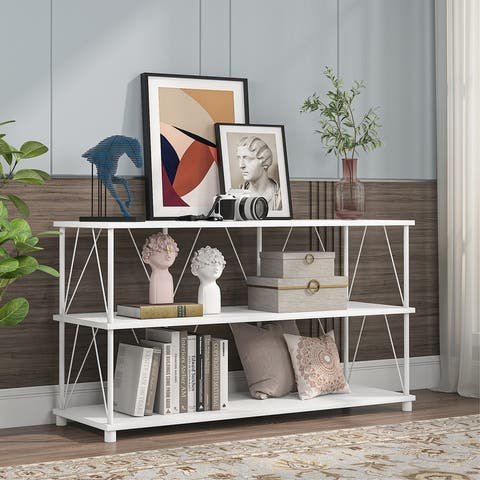 """TV Stand, 47"""" TV Console Table with Storage Shelves"""