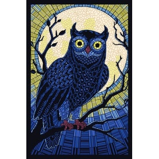 Owl - Paper Mosaic - Lantern Press Artwork (Playing Card Deck - 52 Card Poker Size with Jokers)