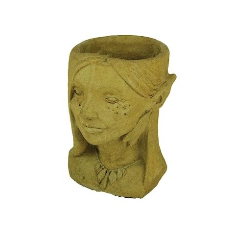 Designer Stone Harvest Yellow Fairy Head Concrete Planter - 13 X 9 X 8 inches