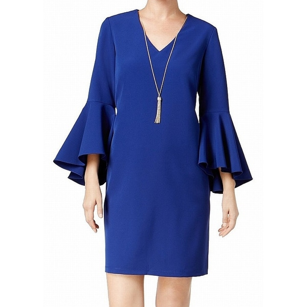 MSK Blue Women's Size 6 V-Neck Bell-Sleeve Crepe Shift Dress