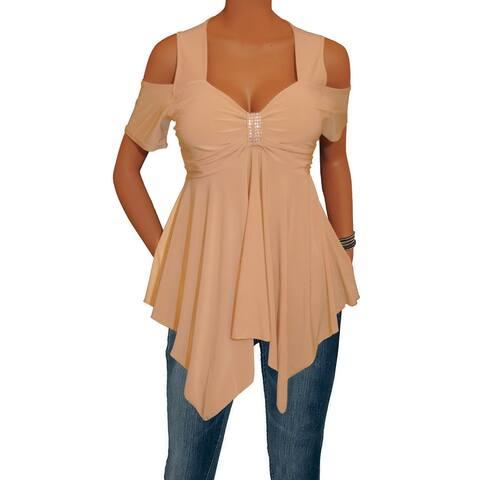 Funfash Women Plus Size Caramel Tan Rhinestones Top Shirt Made in USA