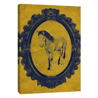 "PTM Images 9-108948  PTM Canvas Collection 10"" x 8"" - ""Framed Paint Horse in Yellow"" Giclee Horses Art Print on Canvas"
