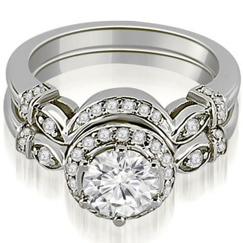 1.27 CT Halo Antique Round Cut Diamond Engagement Set in 14KT Gold - White H-I