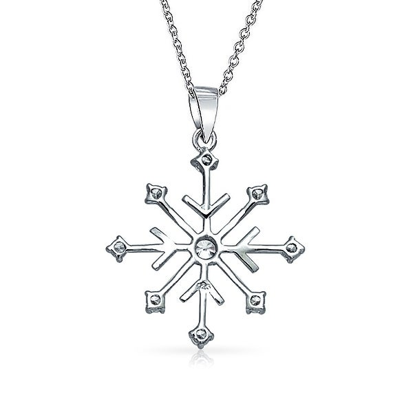 Holiday Winter Snowflake Pendant Necklace CZ Cubic Zirconia Sterling Silver