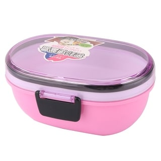 Unique Bargains Microwave Oval Shaped Double Layers Lunch Box Food Storage Container Pink