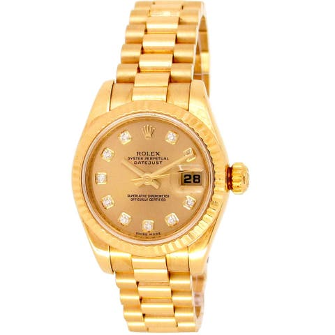 Pre-owned 26mm Rolex 18k Yellow Gold Datejust President Watch - One Size