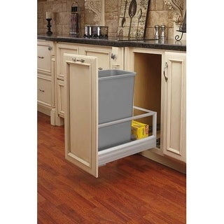Rev-A-Shelf 5149-1550DM-1 5149 Series Bottom Mount Single Bin Trash Can with Full Extension Slides - 50 Quart Capacity