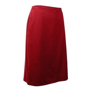 Anne Klein Women's Solid Antonioni Pencil Skirt (10, Hickory) - 10